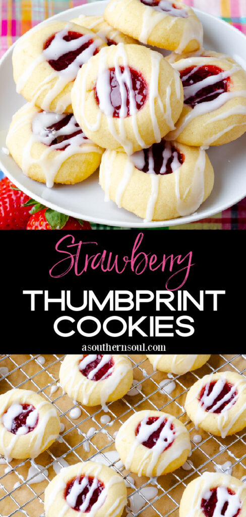 2 images of Jam Thumbprint cookies with text for Pinterest