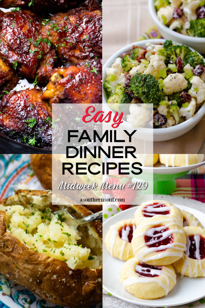 Midweek Menu #129 recipe collection with 4 easy family dinner recipes.