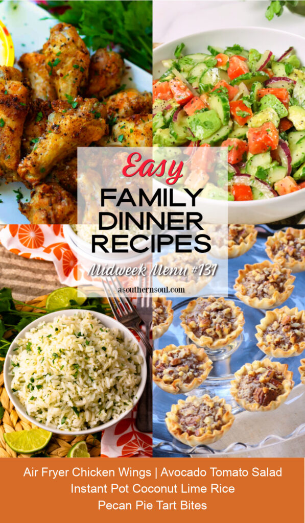 Midweek Menu #131 Pinterest graphic with 4 easy to make recipes for a family dinner.