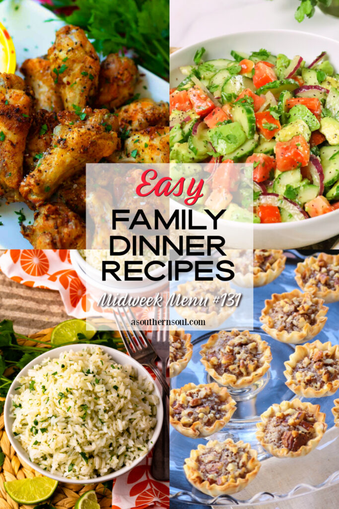 Midweek Menu #131 has 4 easy to make recipes for a delicious family dinner.