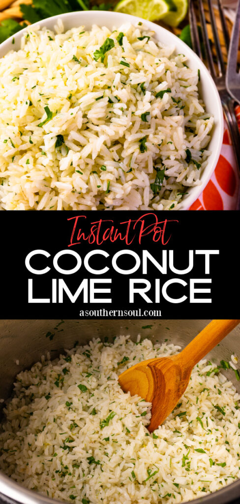 2 Images for Instant Pot Coconut Lime Rice for Pinterest