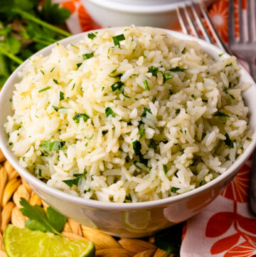 Bowl of Instant Pot Coconut Lime Rice.