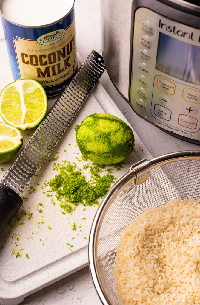 Ingredients for Instant Pot Coconut Lime Rice.