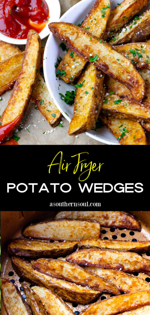 Air Fryer Potato Wedges 2 images for Pinterest.