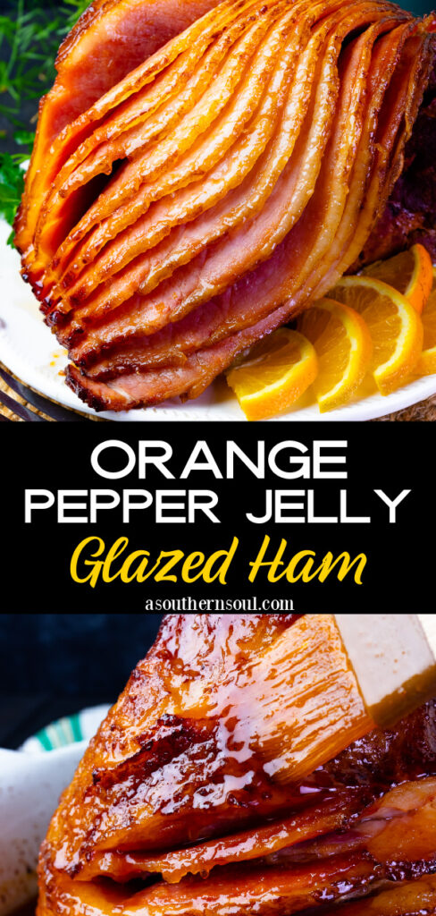 Orange and Pepper Jelly Glazed Ham for holiday celebrations is easy to make!