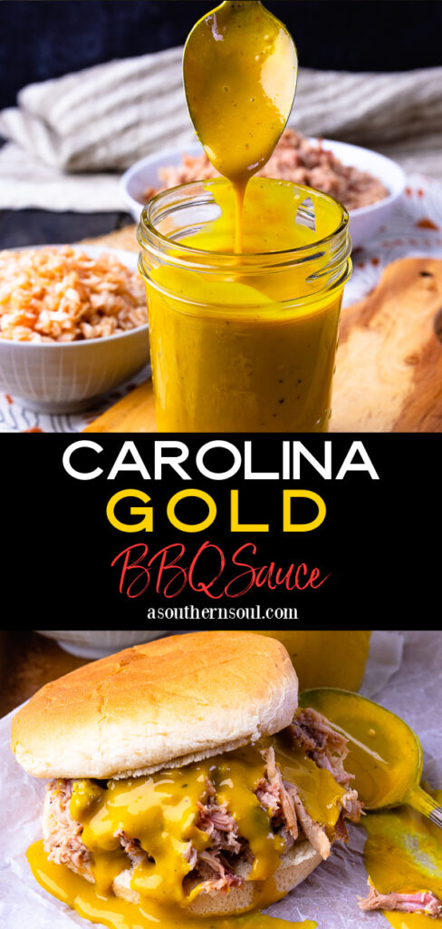 Carolina Gold BBQ sauce with 2 images for Pinterest.