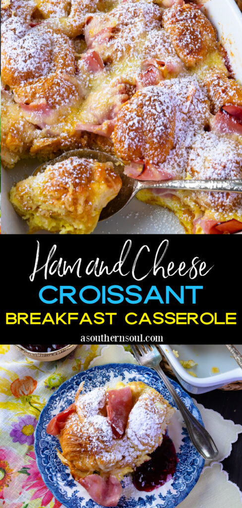 Pinterest pin with 2 images for Ham and Cheese Breakfast Casserole