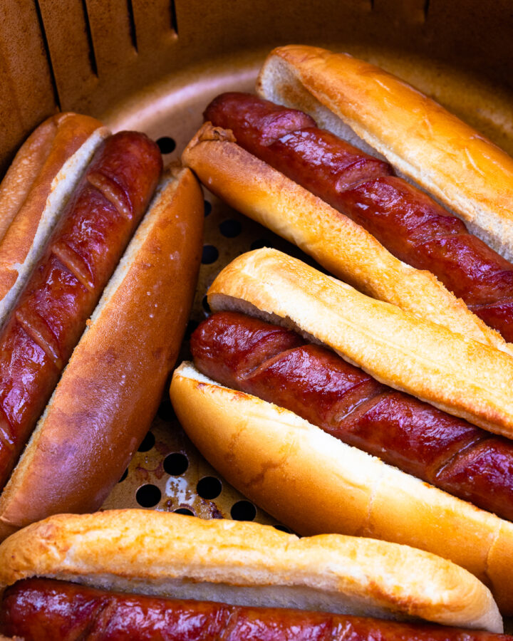 Hot Dogs in buns cooked in the air fryer