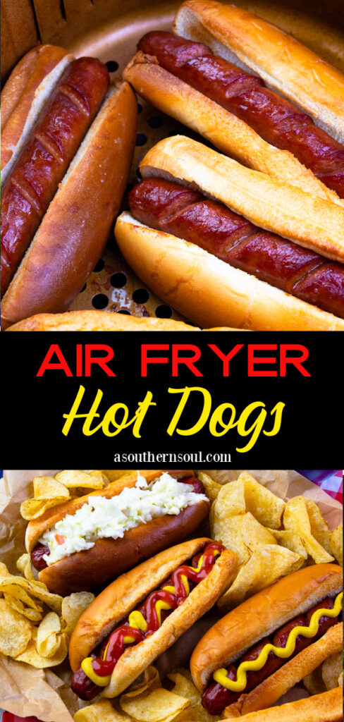 Air Fryer Hot Dog in buns with mustard ketchup and slaw served with potato chips.