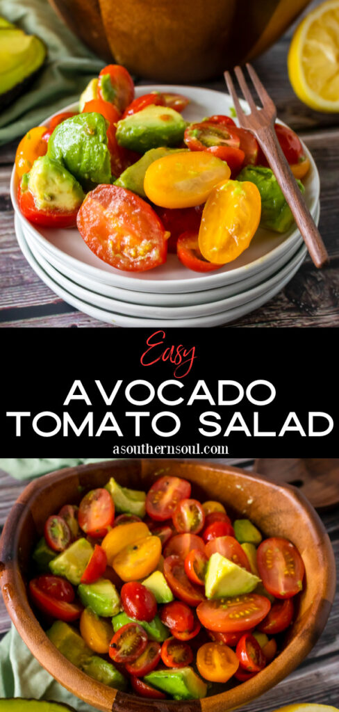 Avocado Tomato Salad in a wooden bowl and on small white plates for serving.