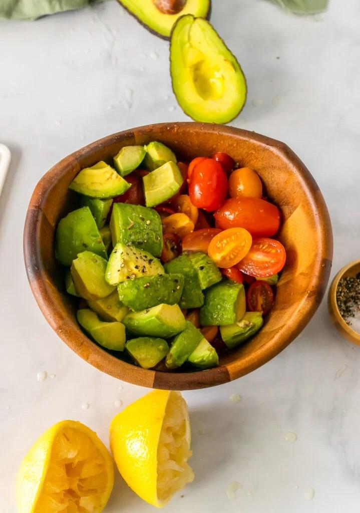 Ingredients for Avocado Tomato Salad.