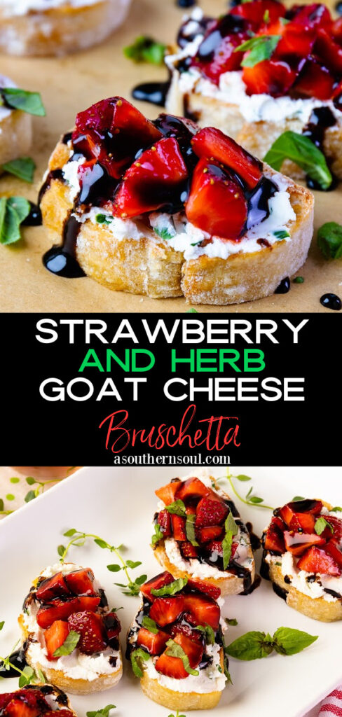 Strawberry and Herb Goat Cheese Bruschetta is easy to make and is delicious for any party.