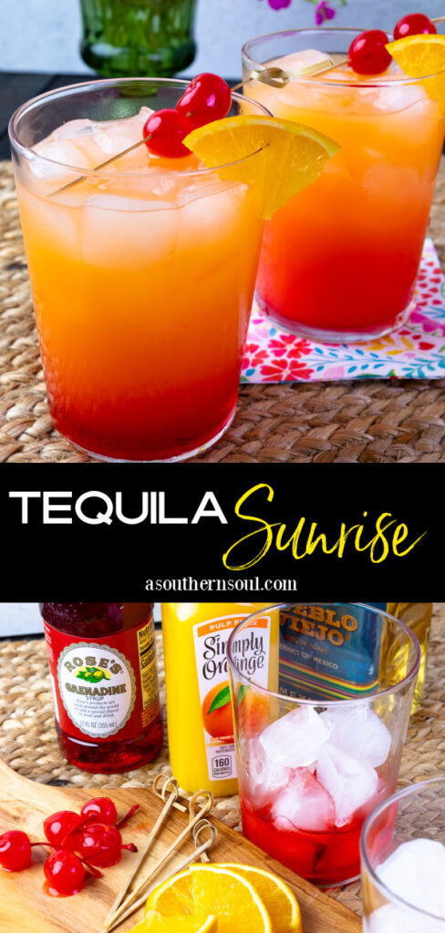 Tequila Sunrise made with tequila, orange juice, grenadine and garnished with cherries.