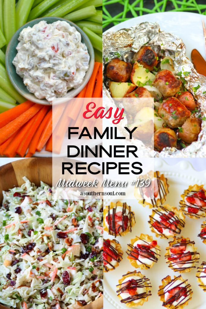 Midweek Menu #139 with 4 easy family dinner recipes.