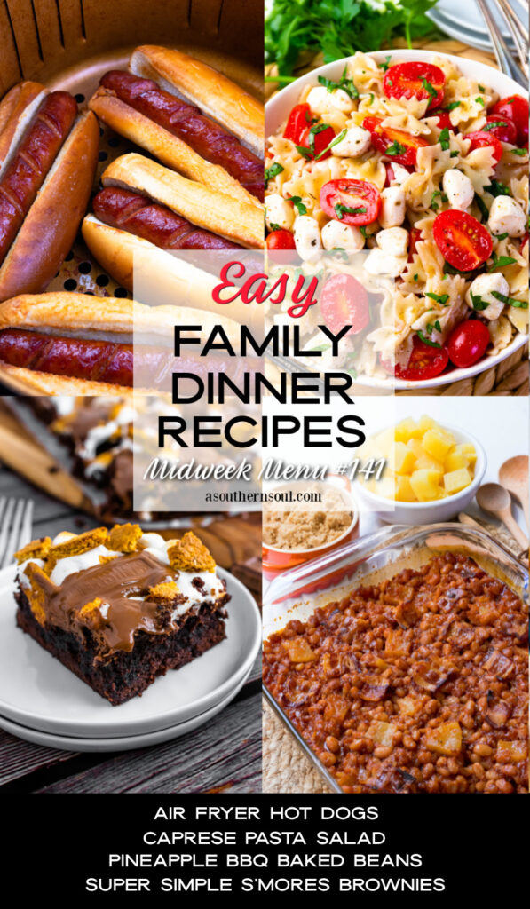 Midweek Menu #141 includes 4 easy family dinner recipes.