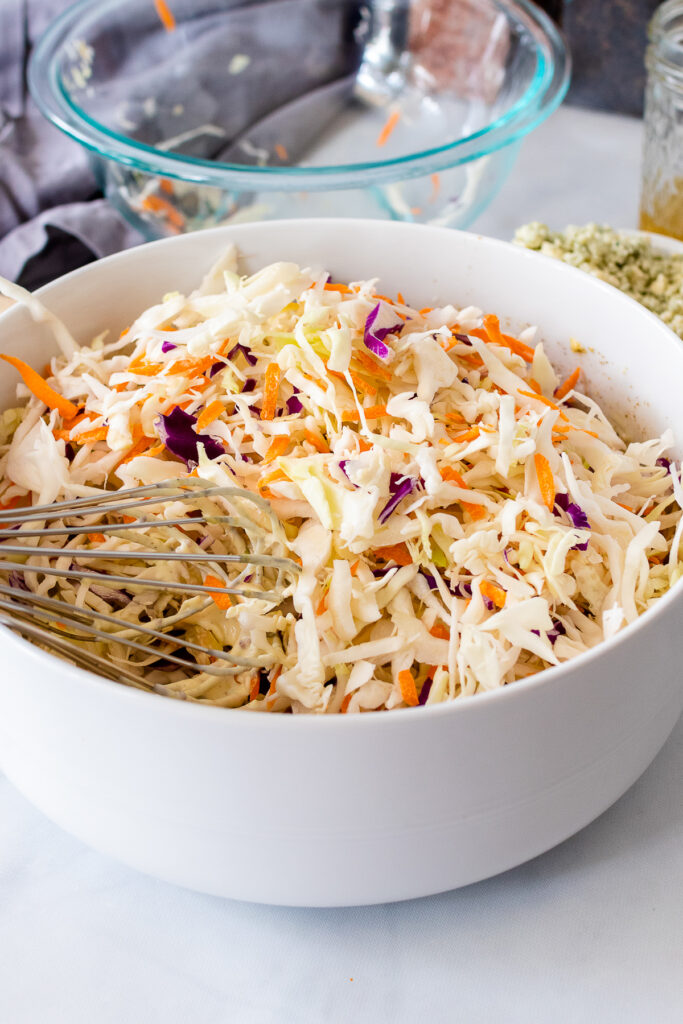 Shredded cabbage for blue cheese coleslaw.