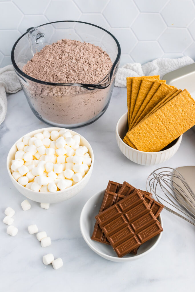 Marshmallows, chocolate, graham crackers for Smores.