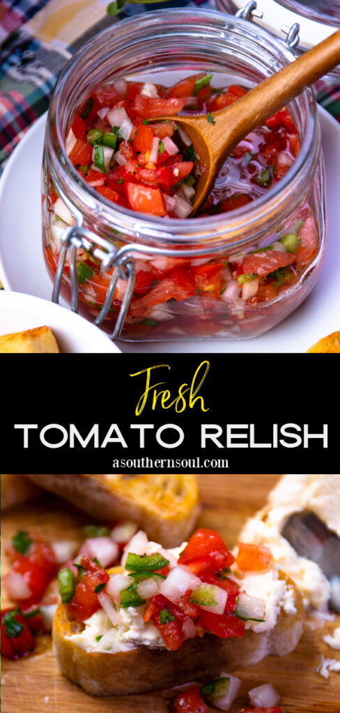 Tomato Relish photos with text overlay for Pinteres.