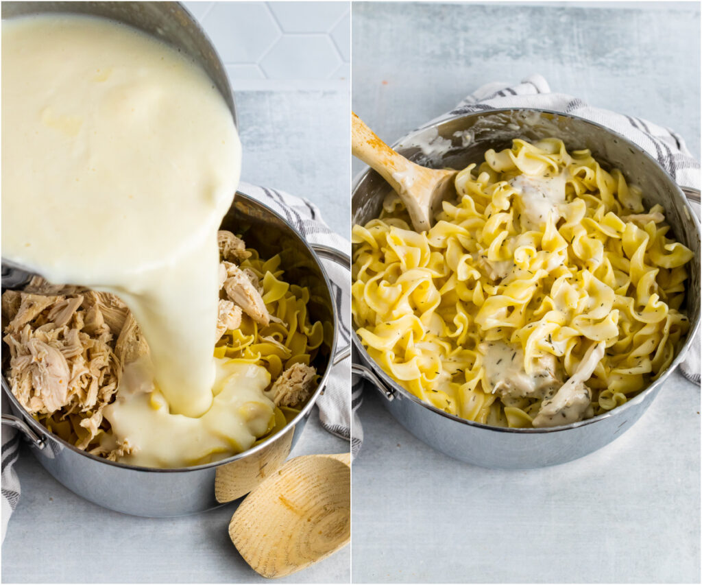 2 images of cream sauce over buttered noodles for Creamy Chicken Casserole.