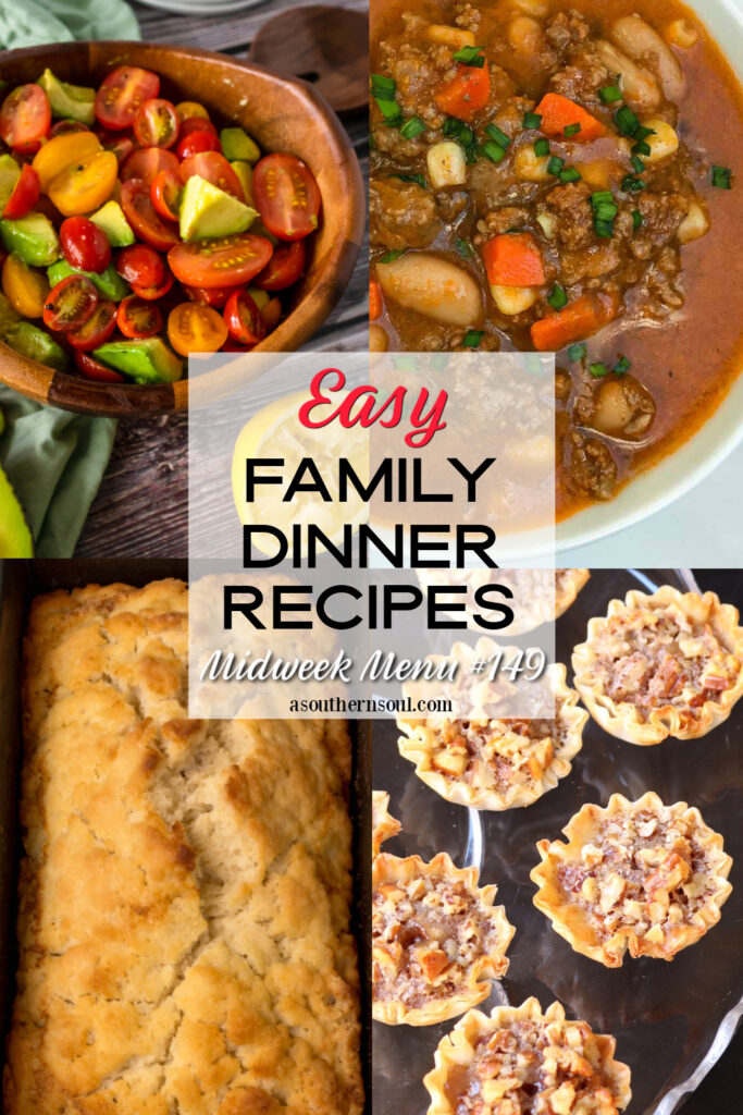 Midweek Menu #149 has 4 easy to make recipes for family dinners.