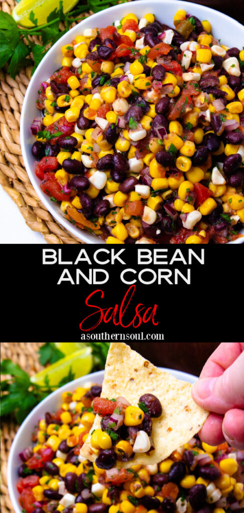 Black Bean And Corn Salsa Photos in collage for Pinterest