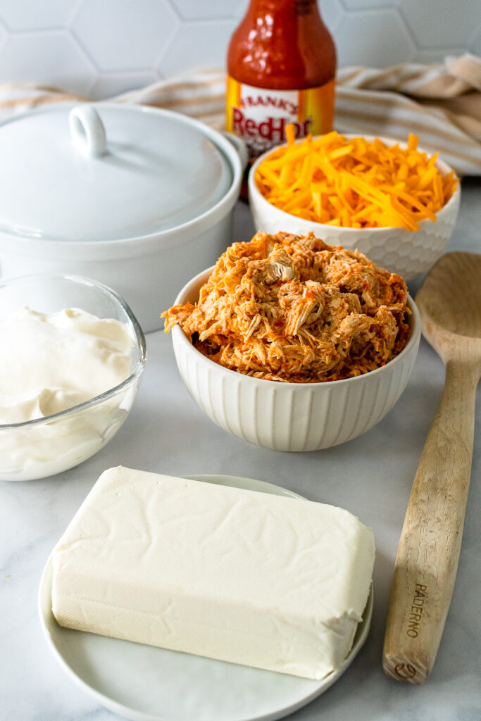 Ingredients for Buffalo Chicken Dip.