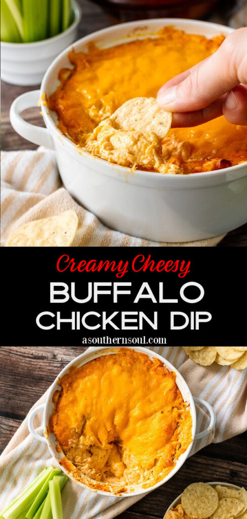 Buffalo Chicken Dip with 2 images for Pinterest Pin