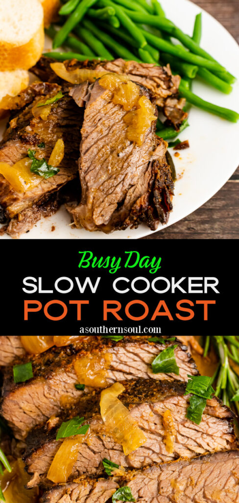 2 images for Pinterest of Busy Day Slow Cooker Pot Roast