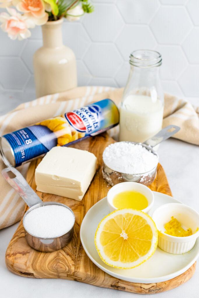 Crescent rolls, cream cheese, lemons and sugar for danish recipe.