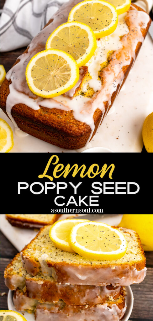 2 images of Lemon Poppy Seed Cake for Pinterest pin.