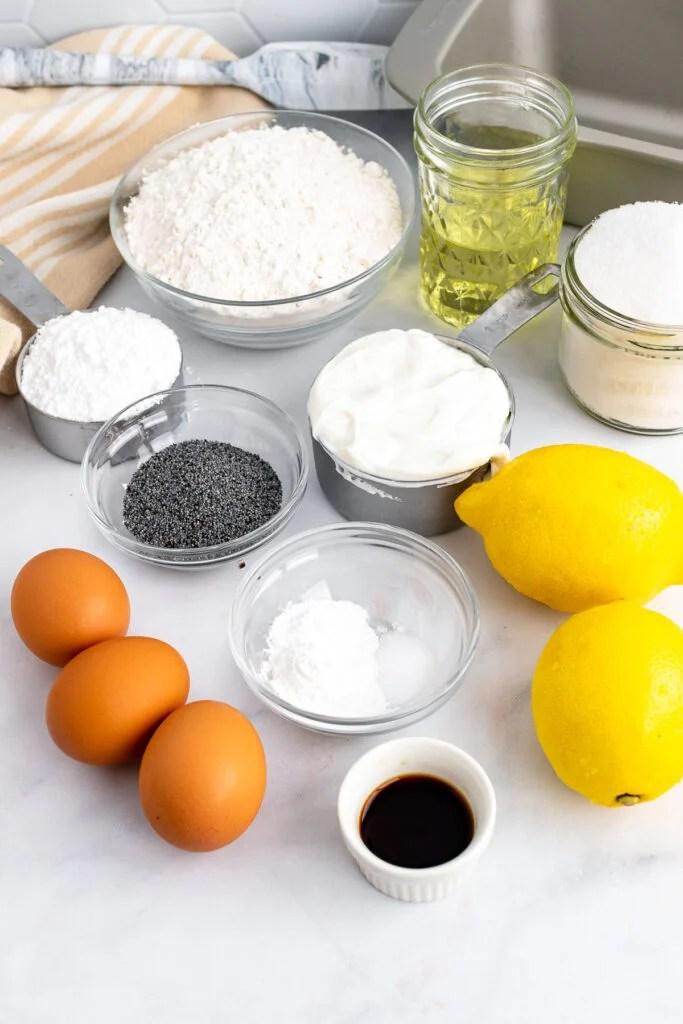 Ingredients for Lemon Poppy Seed Cake