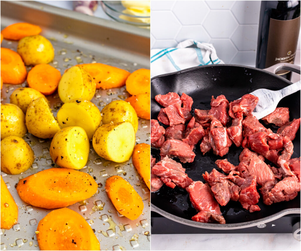 Chopped potatoes and carrots and beef stew in a cast iron pan for cooking.