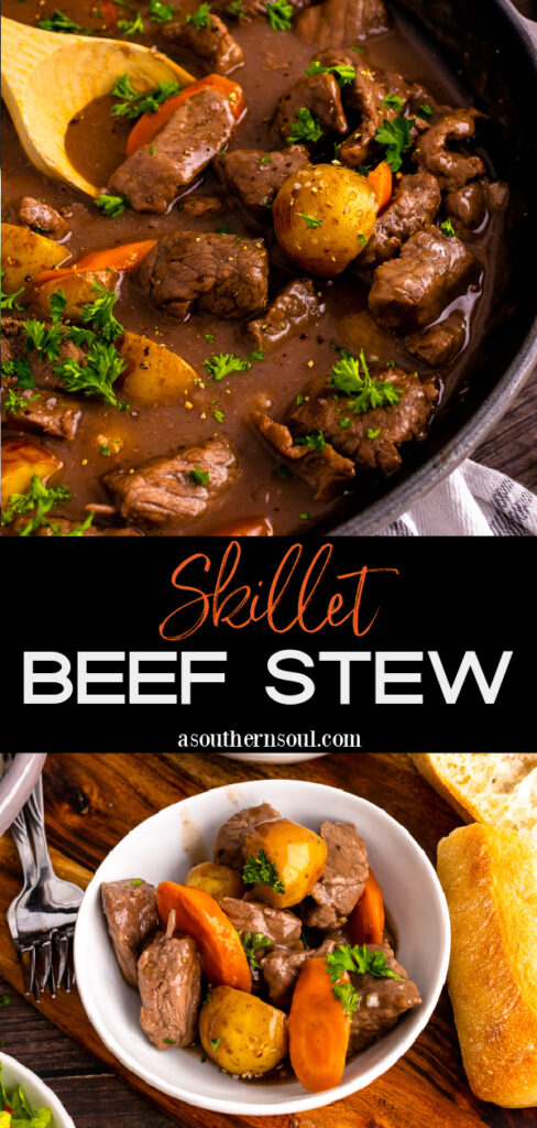 Skillet Beef Stew with 2 images for Pinterest Pin