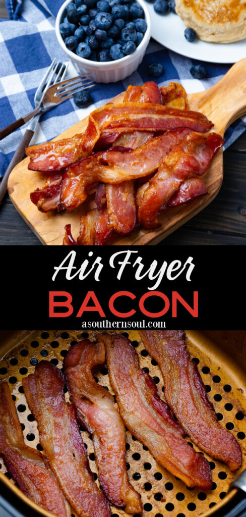 Air Fryer Bacon 2 images for Pinterest