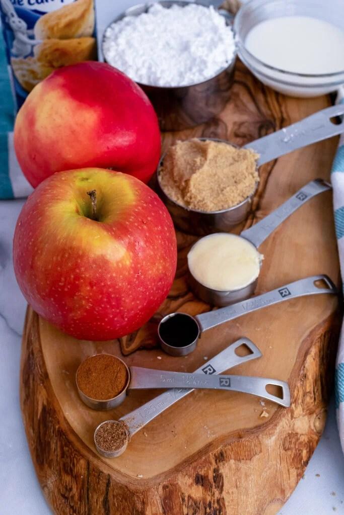 Ingredients for apple cinnamon pull apart bread.