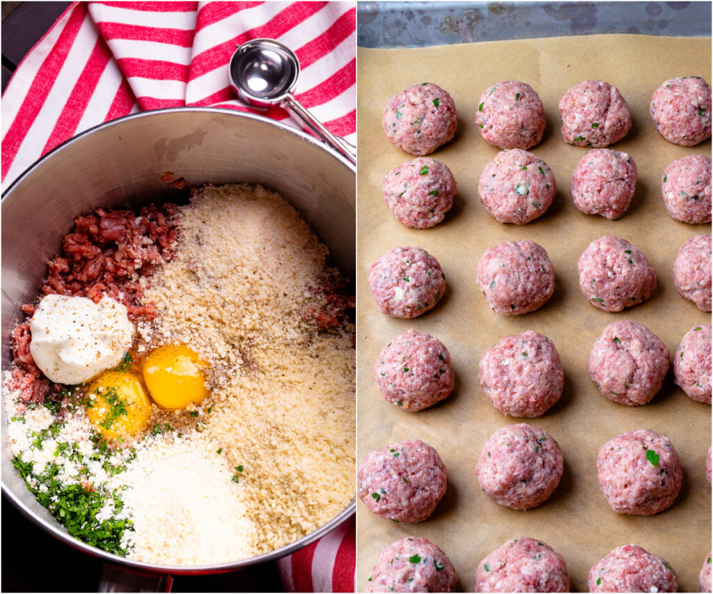 Ingredients for homemade meatballs.