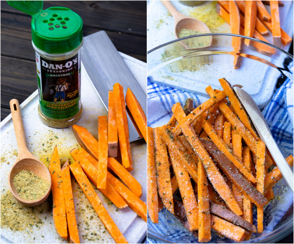 2 photos of cut sweet potatoes for cooking in the air fryer