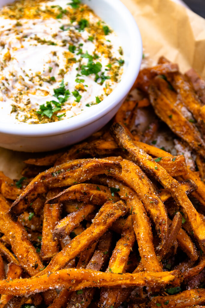 Air Fried Sweet Potatoes and spicy dip made with Dano-O seasoning