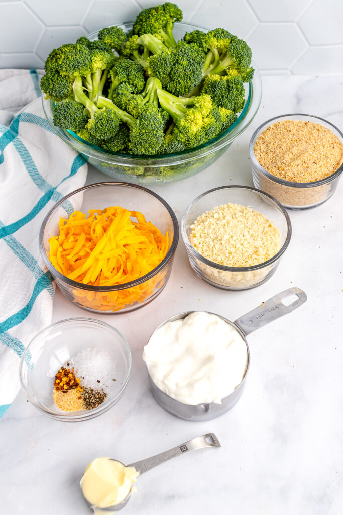 Broccoli, cheese, breadcrumbs and other ingredients for Broccoli Casserole.