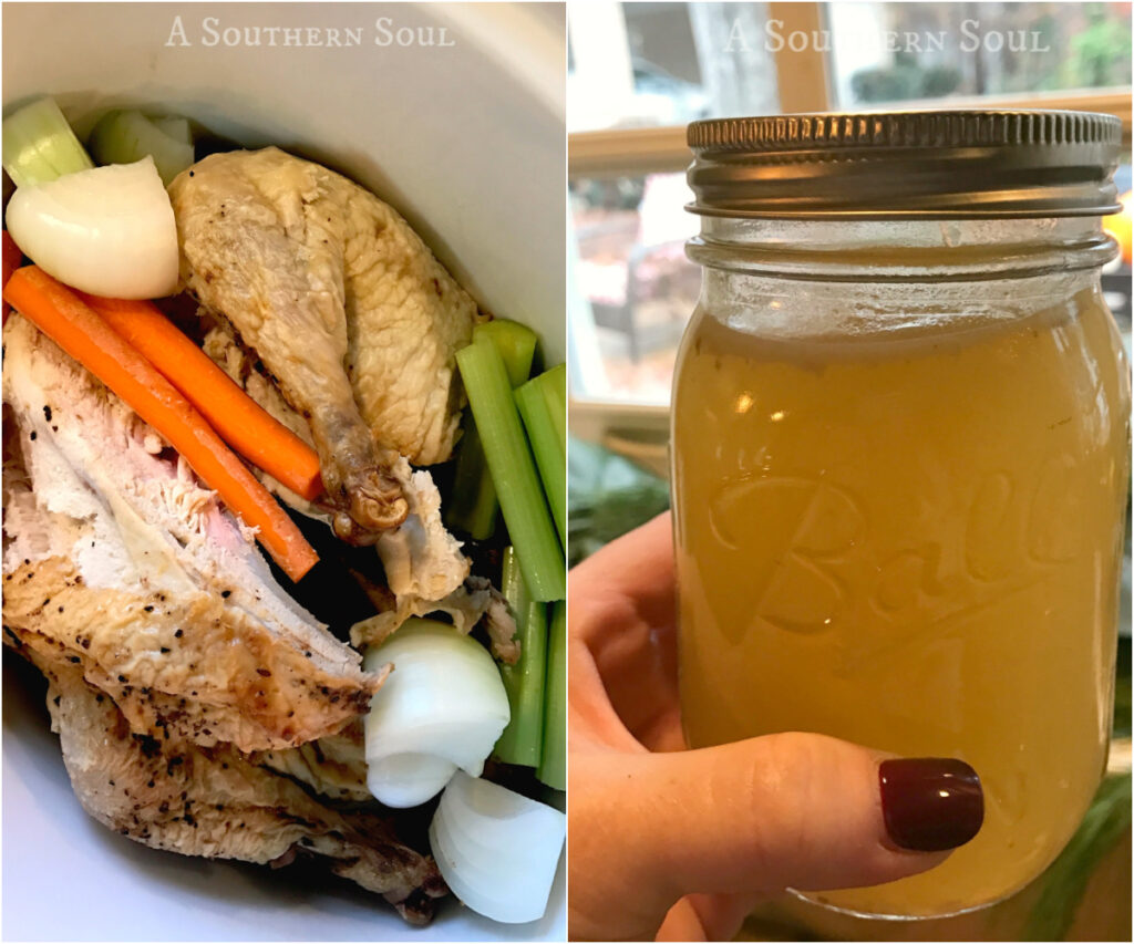 chicken broth made with leftover chicken in the crock pot
