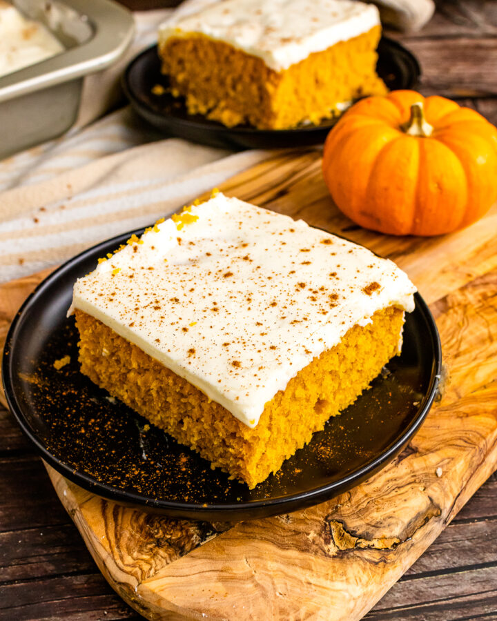 Scratch made Pumpkin Snack Cake with cream cheese frosting.