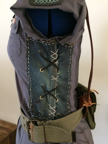 Denim corset-style sides to add durability and shaping