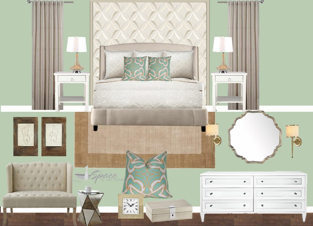 Interior Design Inspiration Board   EDesign Lite   A Space to Call Home Mint and Gold Bedroom Inspiration Board Mood Board Pintret