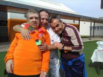 Mateo, Carlos y José Luis en la fiesta de la primavera.