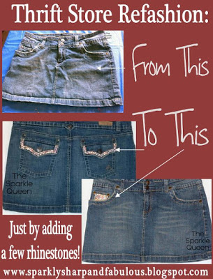 Jean Mini Skirt Rhinestone Refashion – Before and After