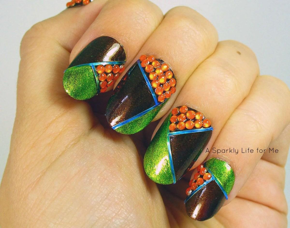 Geometric Fall Bronze Glitter Nails