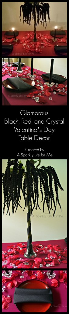 Glamorous Black, Red, and Crystal Valentine's Day Table Decor