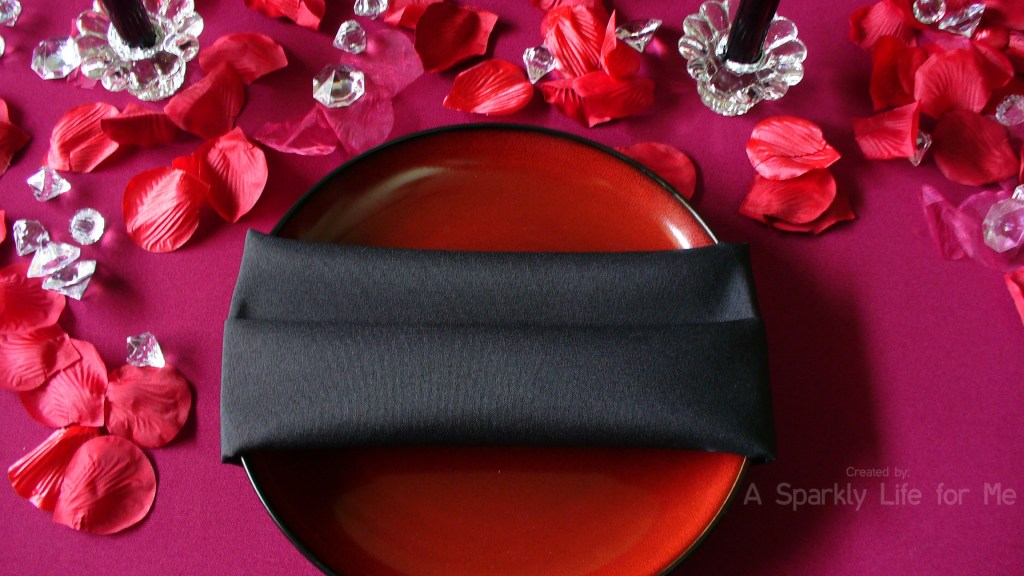 Red and Black Place Setting for Valentine's Day