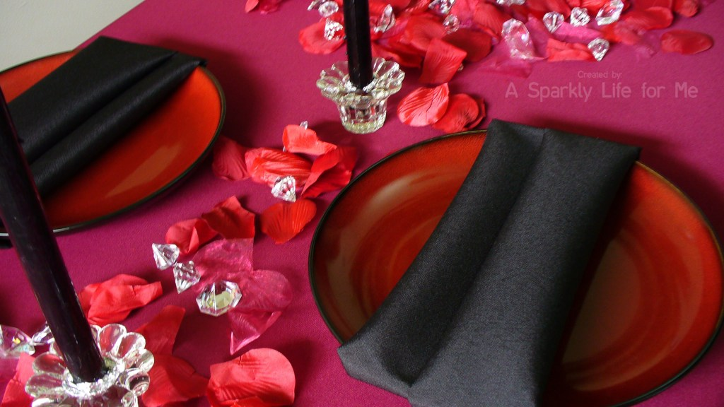 Valentine's Day Table Decor for Two in Black and Red