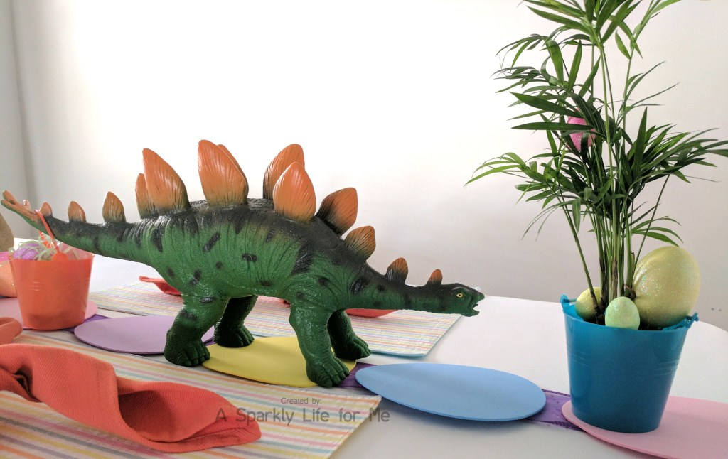 Stegosaurus Dino Easter Egg Hunt Table Decor with Basket – by A Sparkly Life for Me